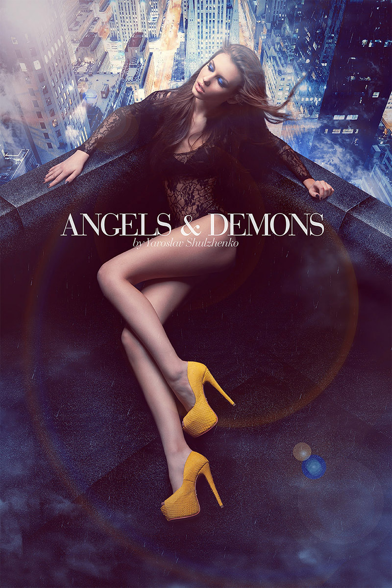 Angels and demons sweet sin brand by Yarose Shulzhenko commercial image by Kipenkocom make yellow footwear concept drama
