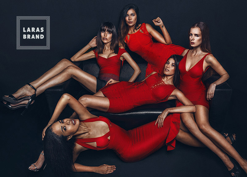 Crazy sexy Red dress gives powered by beauty shaped five models Kipenko for Laras Brand campaign