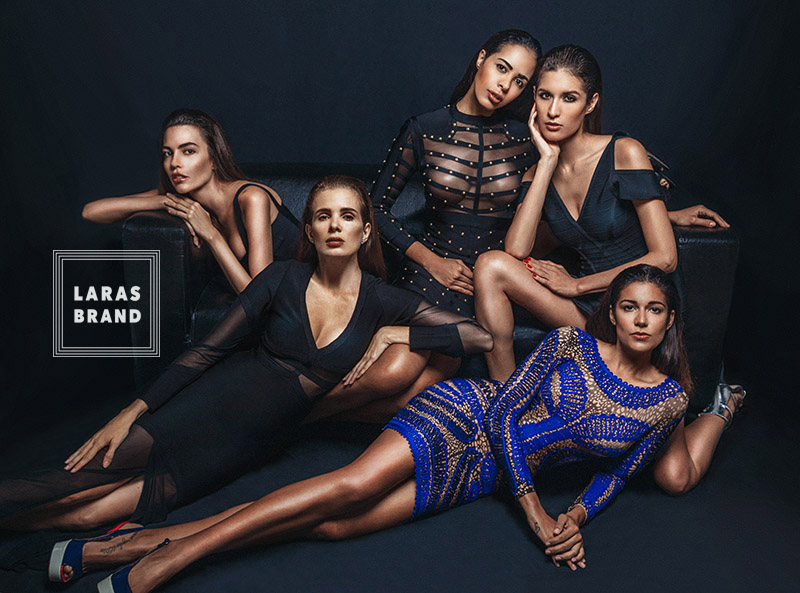 milan advertising commerce photographer Laras Brand campaign, blue and black, five beauty brazilian models