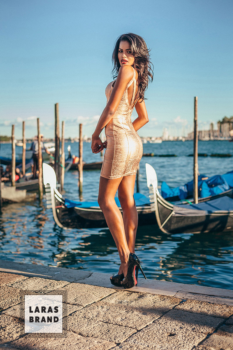 Laras brand Venice located shooting campaign by Alex Kipenko, gold on water colored
