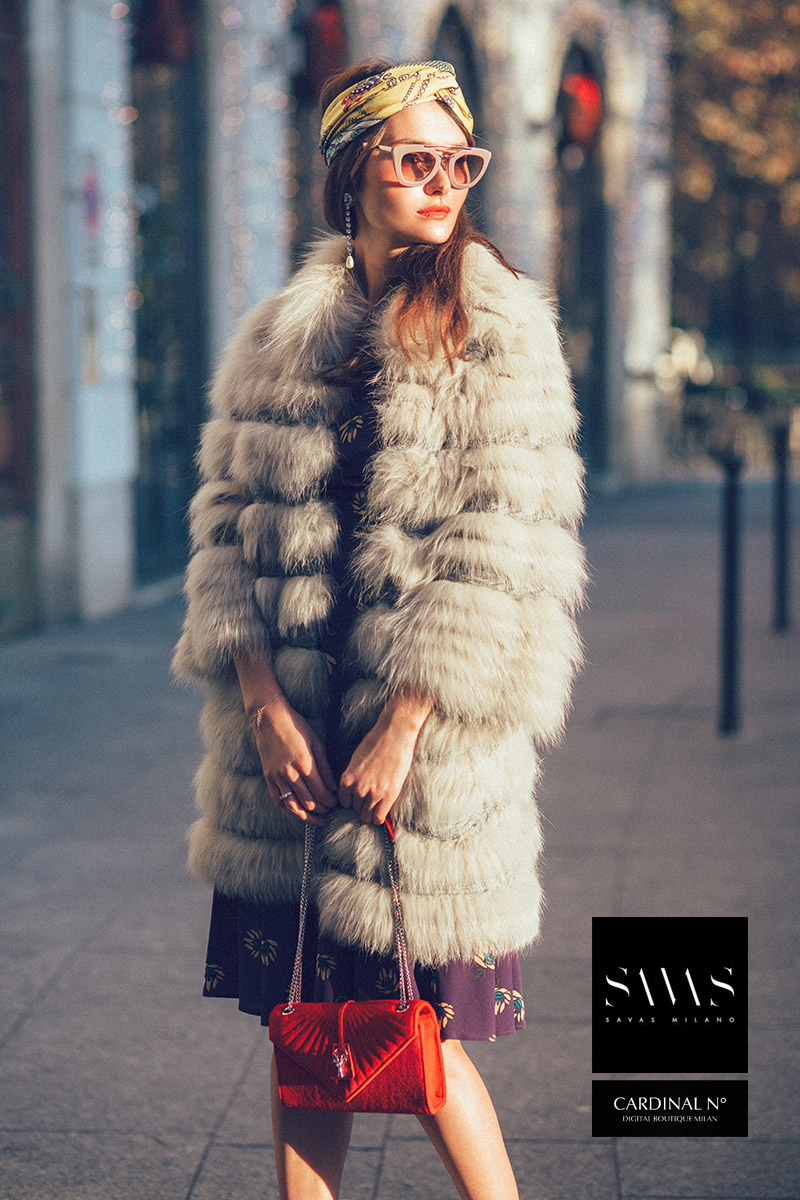 milan fashion photographer Cardinalno Savasmilano Brand campaign, vintage look in sunset light fur