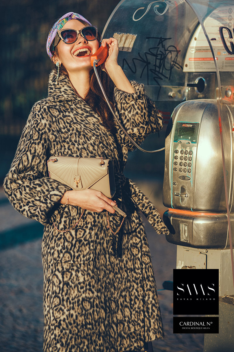 New beetle in Milan winter street image for Cardinalno Savasmilano commercial, sunset colors vintage, Italian styled campaign Kipenkocom, emotional fashion photo public telephone