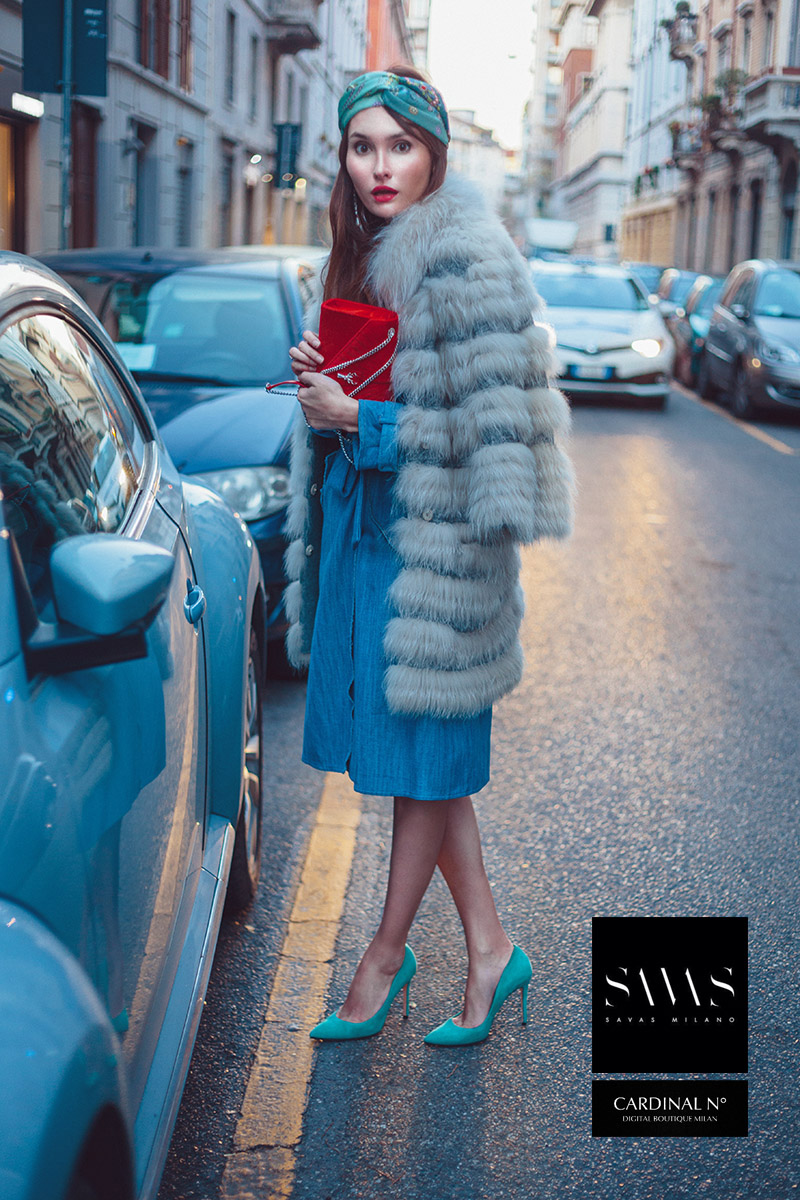 New beetle in Milan winter street image for Cardinalno Savasmilano commercial, in vintage Italian styled campaign by fashion photographer Alex Kipenko crazy blue shoes fur