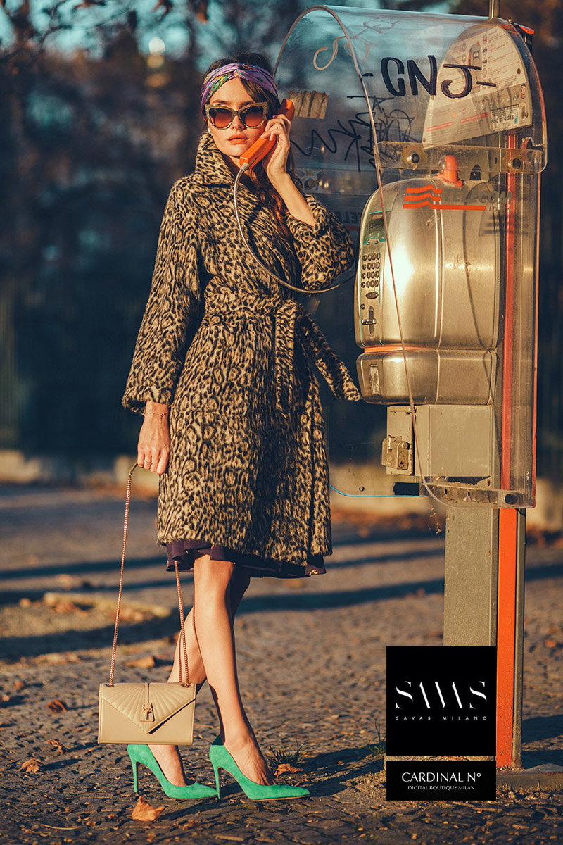 Cardinalno Milan Winter fashion campaign for fashion blog promotion by Kipenko in natural sunset lighting.