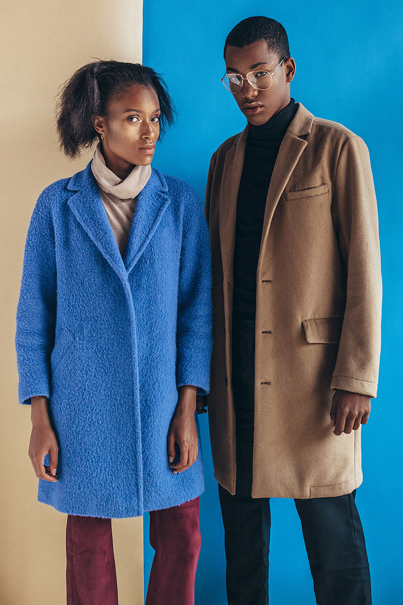 Images sequence for magazine editorial capuccino coat combination look at mulatto male model