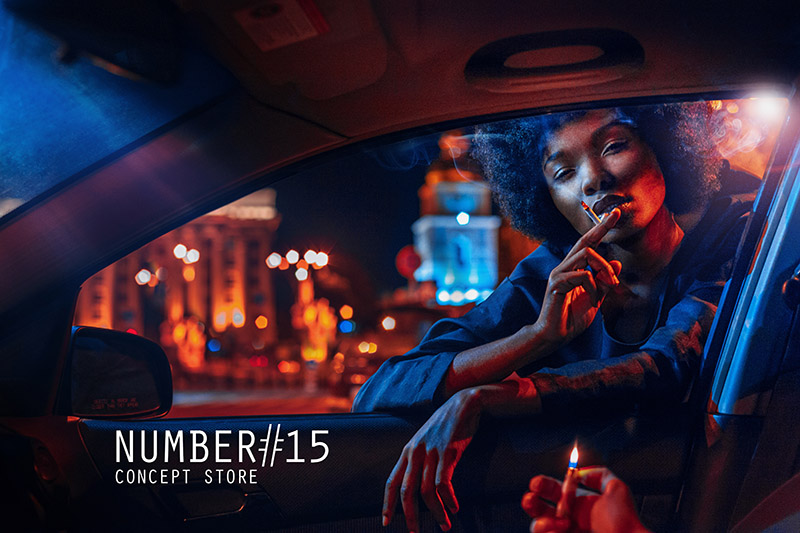 Number #15 fashion concept store by Kipenko shoot smoking dark model in Car used high iso long shutter exposure lighting color