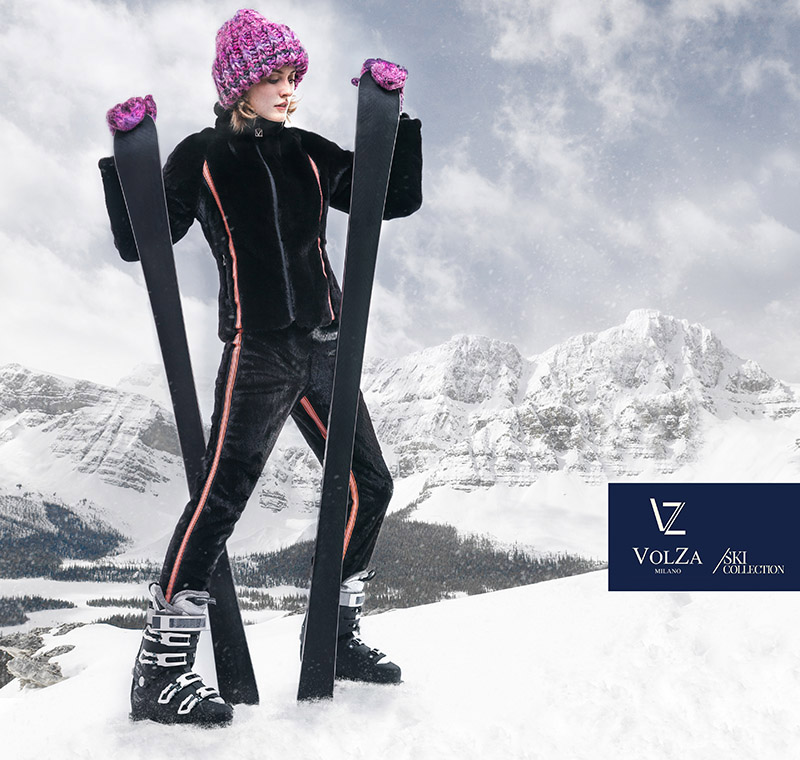 Kipenko photographer shoot VOLZA furs ski suit, Milan fashion campaign commerce