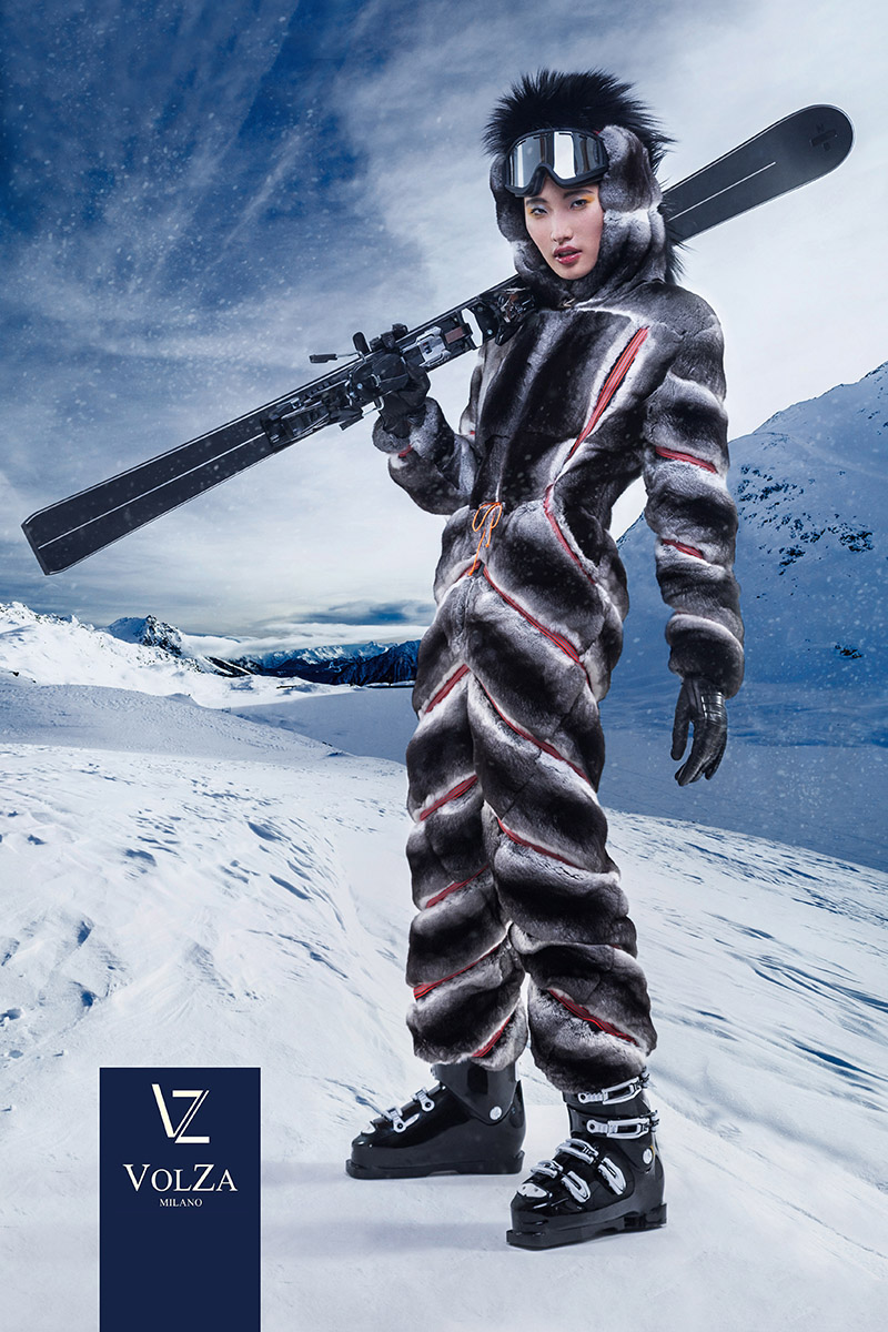 Volza luxry ski fursuit produced campaign by Photo7it by Alex Kipenko, dubai and montecarlo fashion