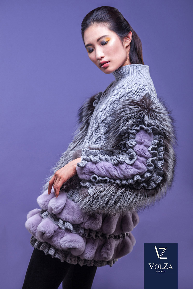 New Fashion trend are purple soft sheared fur coats used in the Korean model Volza luxury brand in Milan